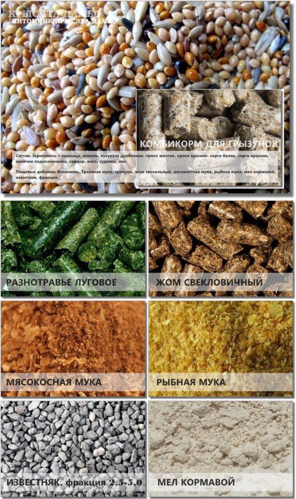 Корм для грызунов, зерносмесь пищевые добавки.